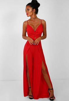 0af301bc841b Your Spotlight Red Knot Detail High Split Leg Jumpsuit - 14. Pink Boutique  UK