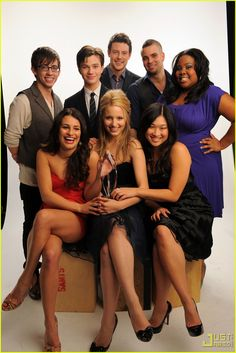 Glee cast...Artie is standing!  I saw an interview where he told the Host that people are actually amazed when they see him out and he's walking!!  HAHA