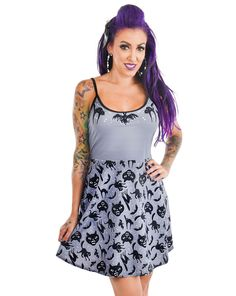 Keep it spooky this summer in the new Spooky Cats skater dress