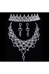Shining Rhinestones Wedding Jewelry Set - Earrings,Necklace and Headpiece