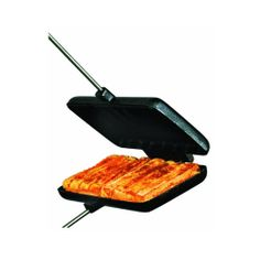 New Double Pie Iron Steel Wood Handles cast sandwich camping square rome camp