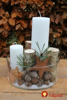 72 Trend Simple Rustic Winter Christmas Centerpiece - Simple And Popular Christmas Decorations, Table Decorations, Christmas Candles, DIY Christmas Cente - Noel Christmas, Christmas Candles, Rustic Christmas, Winter Christmas, Nordic Christmas, Modern Christmas, Diy Christmas Decorations For Home, Christmas Crafts, Christmas Ornaments