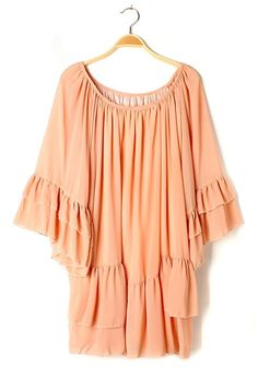 billowy peach summer dress