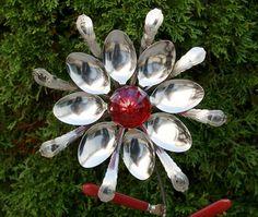 Red Glass Door Knob Stainless Silverware Flower Garden Art