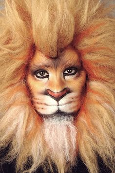 Makeup Lion Costume - - Hobbies paining body for kids and adult Lion Makeup, Animal Makeup, Fx Makeup, Maquillage Halloween, Halloween Makeup, Halloween Art, Male Halloween Costumes, Lion Costumes, Lion Face Paint