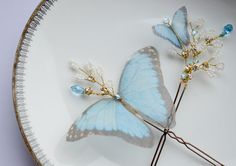 Butterfly Hair Pins by JanaRoyaleDesign on Etsy