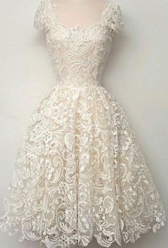Cap Sleeves Ivory Lace Short Prom Dress Homecoming Dresses,Short prom dress,