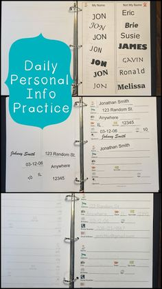 Ways to teach special education students their personal information - an essential life skill
