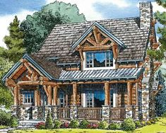 Awesome rustic log home (with chinking!) that has open floorplan for public spaces on main floor and private bedrooms upstairs.