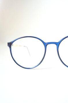 0bfa71a1cf 1980s Dark Blue Round Eyeglasses Sapphire Womens Ladies Geek Chic 80s  Circular Jewel Tone Gold Geek Chic Nerdy Indie Hipster Classic