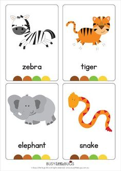 """Our set of printable """"Jungle Animal Flash Cards"""" are a great learning tool for early literacy. All brightly coloured and of high quality.There are 16 brightly coloured, high quality printable flash cards in this pack. Learning English For Kids, Kids English, English Lessons, Teaching English, English Activities, Preschool Activities, Vocabulary Flash Cards, Flashcards For Kids, Early Literacy"""
