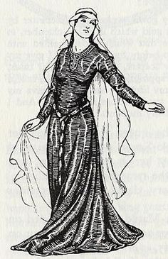 Norman noblewoman wears a fitted gown laced in the back