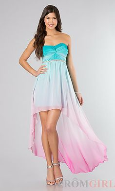 Strapless Ombre High Low Dress at PromGirl.com #homecoming #hoco
