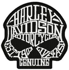 Harley Davidson scull machine embroidery design