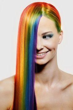rainbow color hair style
