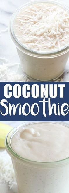 This smoothie is loaded with coconut flavor! Made with coconut… Coconut Smoothie. This smoothie is loaded with coconut flavor! Made with coconut milk and other natural ingredients, this is guaranteed the best way to start the day! Apple Smoothies, Yummy Smoothies, Breakfast Smoothies, Yummy Drinks, Healthy Drinks, Healthy Food, Coconut Recipes Healthy, Recipes With Coconut Milk, Protein Smoothies