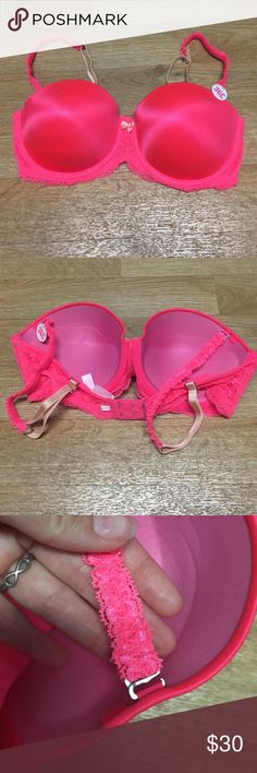 HIGH DEMAND!! VS PINK bra Hot pink bra. Push up, with removable straps. Band has stylish lace. New, never worn although the pt has been removed. PINK Victoria's Secret Intimates & Sleepwear Bras