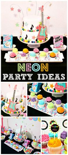 What girl wouldn't love a neon rockstar party? See more party ideas at CatchMyParty.com!