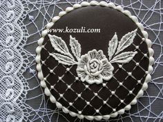 Wedding cookie Black and White. Lace cookie. Brush embroidery cookie.