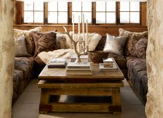 """Ralph Lauren Home Archives, """"Alpine Lodge"""" Family Room, 2012; """"Inspired by the international glamour of a beautifully appointed ski chalet."""""""