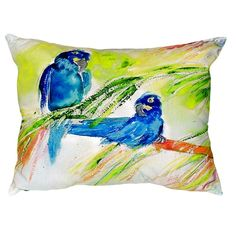 Betsy Drake Interiors Two Parrots Indoor/Outdoor Lumbar Pillow Size: Large Floral Throw Pillows, Throw Pillow Sets, Outdoor Throw Pillows, Lumbar Pillow, Colorful Artwork, Tropical Decor, Coastal Decor, Velvet Pillows, Graphic Prints