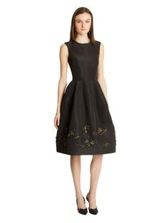 Painted Sequin Threadwork Embroidered Silk Faille Cocktail Dress