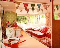 Sweet cozy camper! I love the touches of green. #cozy #red #vintagetraveltrailer #glamping #cottage #girlcamper