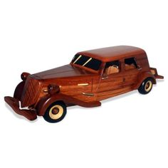 Retro Wooden Car Model Home Desk Office Decoration Collectibles Kid Toy Gift