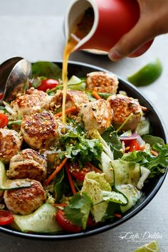 A Thai Chicken Meatball Salad full of Thai-inspired flavours, healthy, filling and low in fat, perfect for lunch or dinner. | http://cafedelites.com