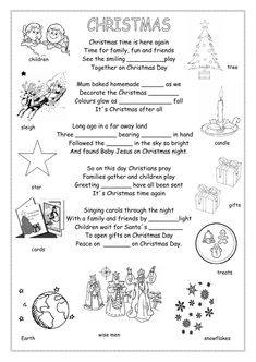 Christmas poem Language: English Grade/level: Grade 6 School subject: English as a Second Language (ESL) Main content: Christmas Other contents: Christmas Worksheets, Christmas Poems, Christmas Activities, Christmas Traditions, Christmas Time, Holiday, English Class, English Lessons, Teaching English