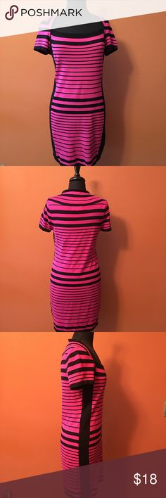 Pink and Black Striped Bodycon Sweater Dress Short sleeve sweater dress, size large, pink and black stripes in good condition Pink Rose Dresses