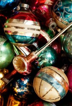 .~Vintage Ornaments are fun to work with in Arrangements, They Look Lovely and Colorful With Winter Greens and Some Artificial Snow, a Horn or Two, a Great Bowl and There you Go~