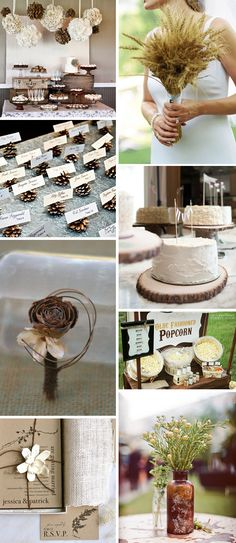 Rustic Ivory and Brown Wedding Inspiration - Wheat bouquet, pine cone escort cards, popcorn buffet!