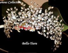Corona de cristal de la boda tocado de novia plata Vine de