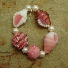 Sale - Peach on the Beach - Tiny Seashell Beads - Five handmade bracelet sized lampwork shell beads by Diane Woodall/SRA