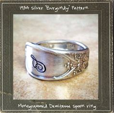1934 Elegant Silver Flatware Ring by ScarlettSage on Etsy, $22.00