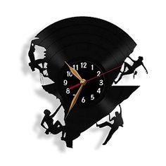Mountaineering, Rock Climber, Climbing, Vinyl Record Wall Clock 12 inch (30cm) / Modern, Black Wall Art Decor Laser cut of Vintage Vinyl Record