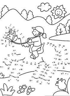 Connect the dots and color ! Cool Coloring Pages, Coloring For Kids, Coloring Sheets, Coloring Books, Teaching Kids, Kids Learning, Hard Dot To Dot, Horse Games, Hidden Pictures