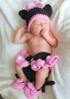 Newborn Minnie Mouse Crochet Hat and Diaper Cover by alanemarie Crochet  Minnie Mouse Hat 3c1ae978a2ee