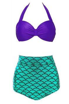 Hot Mermaid Bikini Set; Vintage High Waist
