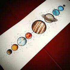 Resultado de imagem para solar system tattoos tumblr