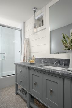 Love the soapstone countertop Traditional Bathroom by Casa Verde Design Bathroom Renos, Grey Bathrooms, Beautiful Bathrooms, Small Bathroom, Bathroom Ideas, Bath Ideas, Master Bathroom, Basement Bathroom, Bungalow Bathroom