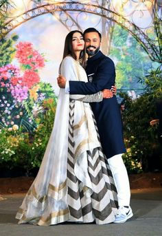 Mr.and Mrs Ahuja. Reception party of #sonamkapoorahuja and #anandahuja Sonam Kapoor Lehenga, Sonam Kapoor Wedding, Bollywood Actors, Bollywood Fashion, Indian Dresses, Indian Outfits, Beautiful Wedding Gowns, Wedding Dresses, Eastern Dresses