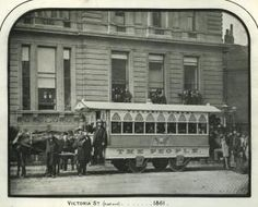 A view of 'The People' horse tram at the eastern end of Victoria Street, on the single-line section opened by George Francis Train in Victorian London, Vintage London, Old London, Victorian Era, London Transport Museum, Public Transport, London History, British History, London Pictures