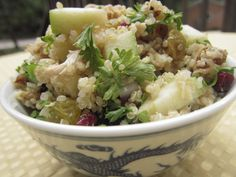 Fall Flavors Quinoa Salad Author/Source: Kim @ onceamonthmeals.com, adapted from FamilyFun Magazine Ingredients: 1 cup dry quinoa, cooked ac...