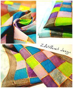 Handmade painted natural silk scarf  55x55cm 17eur