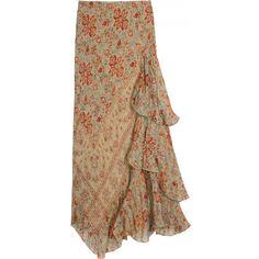Ralph Lauren Woven Sana Skirt ($346) ❤ liked on Polyvore featuring skirts, print skirt, floral knee length skirt, floral pattern skirt, patterned skirt and brown skirt