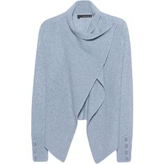 360 SWEATER Jordana Chambray // Cashmere cardigan ($460) ❤ liked on Polyvore featuring tops, cardigans, button top, blue top, heavy cardigan, ribbed top and slimming tops