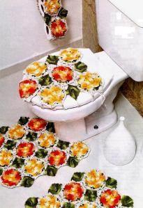 Tapetes Crochet p Banheiro Jardim de Flores