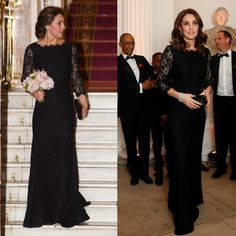 A pregnant Duchess of Cambridge rewore a black lace Diane von Furstenberg gown to the 2017 Anna Freud Centre Gala at Kensington Palace's Orangery. The 35-year-old royal completed her elegant ensemble on November 7 by styling her glossy locks down in loose waves. The mom-of-two accessorized her look with a Prada clutch, a pair of Queen Elizabeth's earrings, a diamond cuff bracelet and a patriotic Remembrance Poppy.